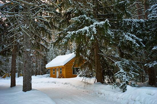 Cabin-snow-mountains