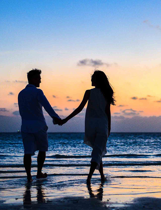 Honeymoon-Couple-Beach-Walking-Sunset